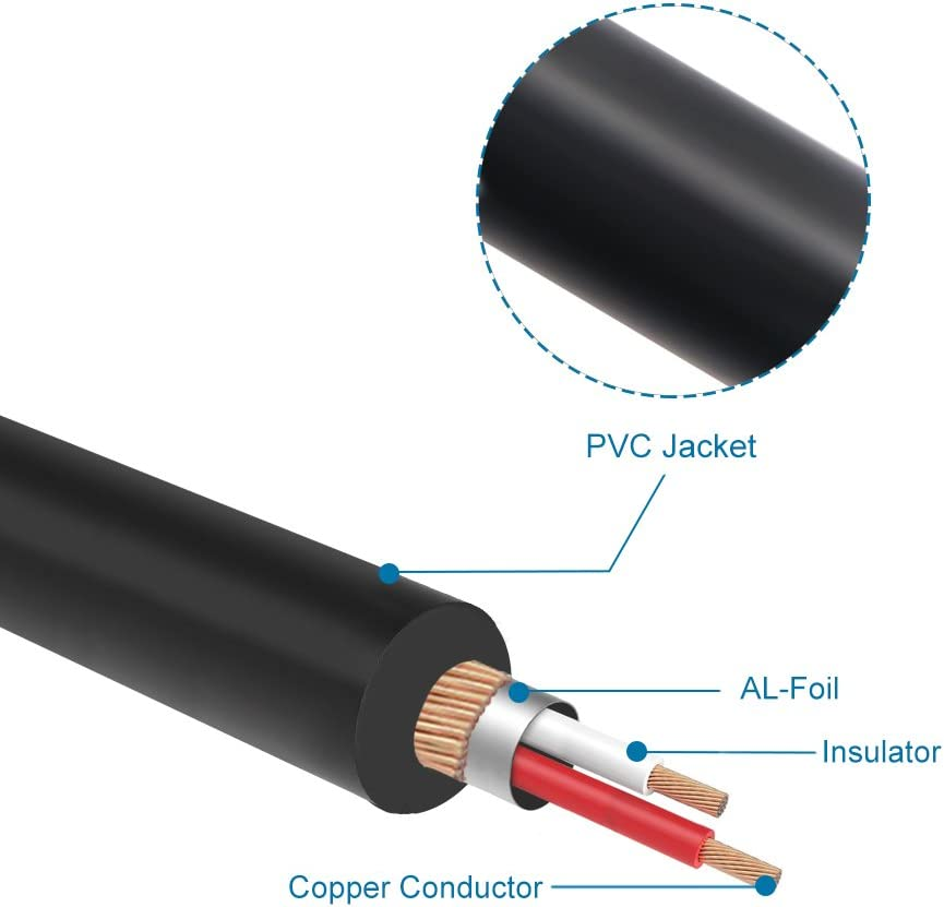 J/&D Gold-Plated / RCA Cable 2RCA to 2RCA Cable 3 Feet Heavy/Duty Copper/Shell 2 RCA Male to 2 RCA Male Stereo Audio Cable