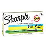 Sharpie 28026 Accent Pen-Style Retractable Highlighter, Fluorescent Green, 12-Pack