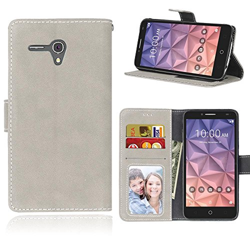 YHUISEN Estilo retro de color sólido Premium PU cuero Wallet Case Flip Folio cubierta protectora de la caja con ranura para tarjeta / Stand para Alcatel OneTouch Pop 3 (5,5 pulgadas) ( Color : Purple  White