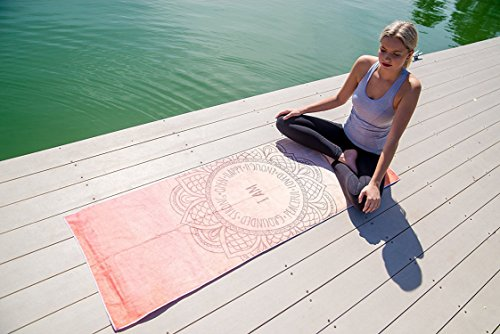 "Premium Quality Yoga Mat Towel by YogAffirmations – Non Slip, Silicone Dots, Ultra Soft Microfiber, Wicking Sweat Absorbent – Great for Hot Yoga, Pilates, Meditation – Perfect Size 24"" x 72"""