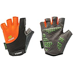 VEBE Men's Multi-functional Half Finger Anti-slip Biking Gloves Cycling Riding For Cross-country Road Sports,Color Orange,Palm Width about 7-7.5 CM