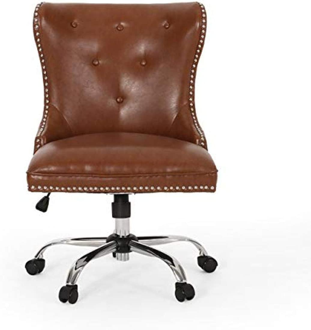 Christopher Knight Home Keith Contemporary Tufted Swivel Office Chair, Cognac Brown + Chrome