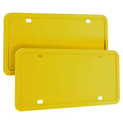 Deselen Silicone License Plate Frame, Minimalist and Stylish, 2 Pack, Yellow: Automotive