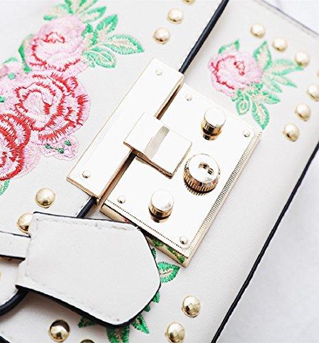 Sacs rose broderie à Femmes de Blanc Sacs bandoulière ❤️ Sacs carrosserie chaîne Sacs bandoulière à Sacs en de de de Bandoulière messager Amlaiwolrd w7vYY8nx