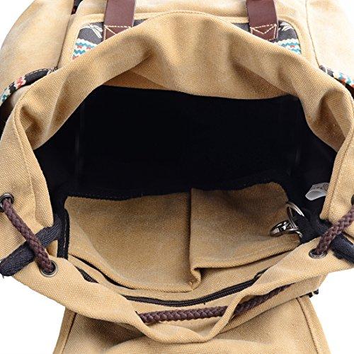 Print Brown Rucksack Cute Backpack Douguyan Floral School Casual Canvas Backpack Women vx7wE