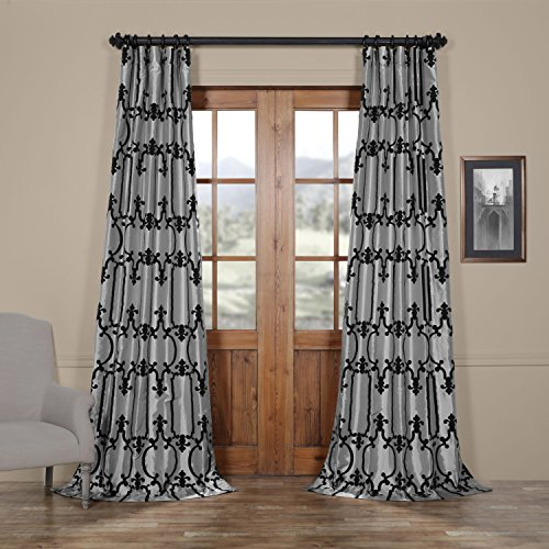 Half Price Drapes Ptfflk-C32G-96 Royal Gate Flocked Faux Silk Curtain, 50 x 96, Silver and Black