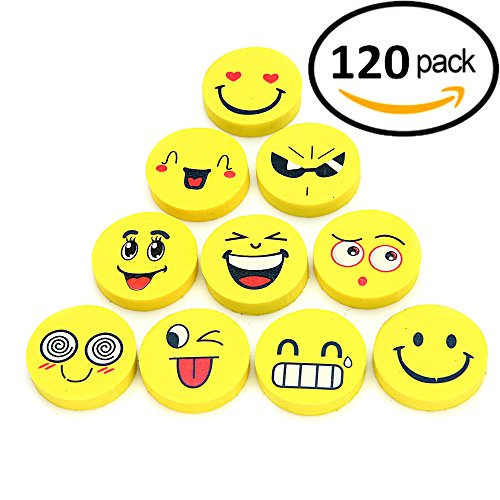 Award Eraser - Original EMOJI Pencil Erasers 120 Pack! Cute, Fun and Functional, Great as Gifts for Kids, Incentives, Prizes, Party Favors, Classroom Rewards and School Supplies - Erase Super Well and Child-Safe