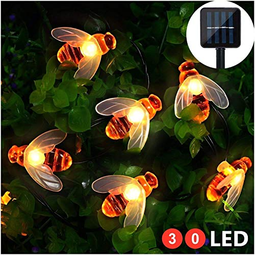 WeltHause Solar Bee String Light Lawn Lamp 30 LED 6.3M 2 Lighting Modes Light Sensor IP65 Water Resistance for Outdoor Yard Patio Garden Warm White
