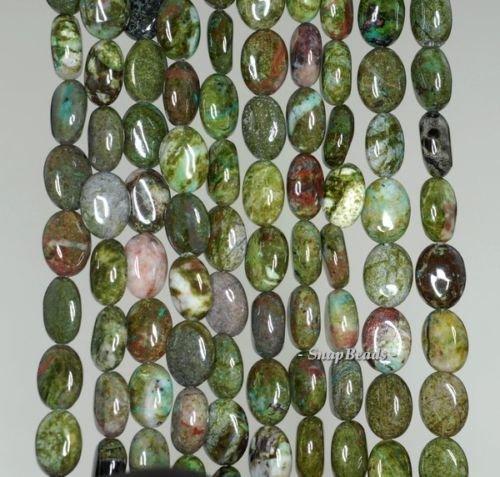 - 8X6MM Rainforest Jasper Gemstone Green Oval 8X6MM Loose Beads 16'',