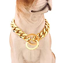 15mm Gold Stainless Steel Curb Slip Chain Dog Collar Cool + Best for Large Dogs: Pitbull, Bulldog, Rottweiler & more! 12-36inches (12inch)