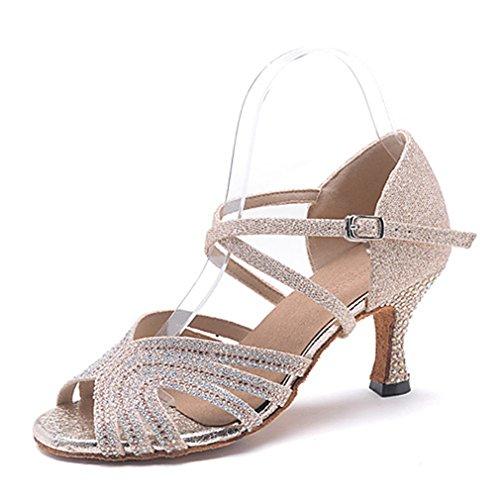 Diamantini Prestazioni Brillantini Scarpe Moderna Swing Donna Jazz Golden Sandali Latino Americani Professionale Con Da Tacchi Balli Danza XXzqZ71