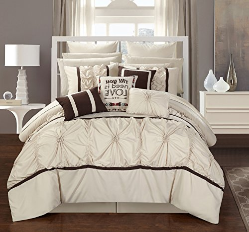 Chic Home Ashville 16 Piece Bed in a Bag Comforter Set, Queen Off-White