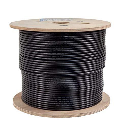 Vertical Cable Cat6, Dual Jacket, Direct Burial, 1000ft, Black, Bulk Ethernet Cable