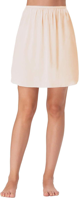 Kate Kasin Women Well Elastic Waist Satin Resistant Underskirt Half Slip Underwear Petticoat 265