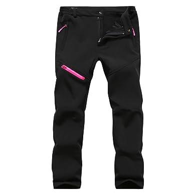 Juqilu Homme Femme Softshell Camping Pantalon Douce Polaire Doublé  Coupe-Vent Imperméable Outdoor Sport Pantalon Escalade Randonnée Trekking  Ski Pantalon ... 7164e0a99fa