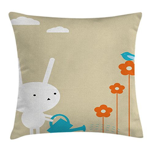"""Ambesonne Animal Throw Pillow Cushion Cover, Bunny Watering The Dried Flowers Little Birdnd Clouds Pattern, Decorative Square Accent Pillow Case, 16"""" X 16"""", White Blue"""