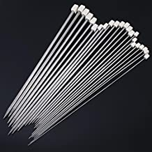 Chinatera 22pcs Stainless Single Pointed Knitting Needles Knit Weave Craft Metallic Crochet Suit Stainless Steel Aluminum Crochet Wool Weaving Tools