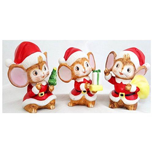 Vintage Homco 5405 Christmas Mice Figurine Set of 3