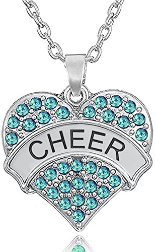 ''Cheer'' Cheerleader Pendant Necklace Jewelry Gifts for Girls and Teens Christmas, Birthday (Aqua Blue) ()