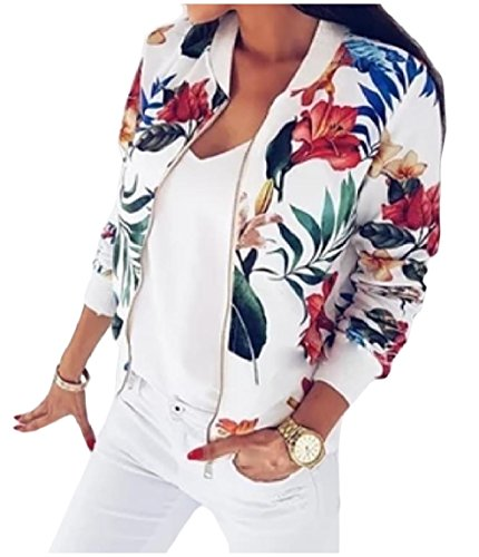 Full zip Jackets Floral Women's Outwear Cardigan Mogogo White Printed Fall Spring qE5nfS