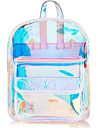 Fashion Hologram Small Laser Transparent Backpack Waterproof Pvc Clear Daily Backpack Teenage Girls School Bag Shiny