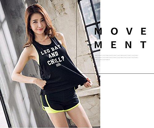 Sport Da S Maniche m Traspirante Yoga Gilet Donna Fitness Jianshenyi T Black Allenamento Girocollo Senza shirt qw1EpBTx