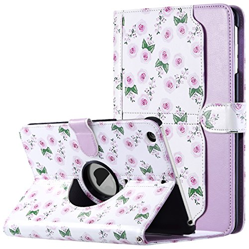(ULAK iPad Mini 1/2/3 Case - 360 Degree Rotating Stand Case Cover with Auto Sleep/Wake Feature for Apple iPad Mini 1 / iPad Mini 2 / iPad Mini 3 - Purple Rose)