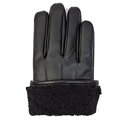 Faux Leather & Fur lined winter gloves with Touch Screen Technology