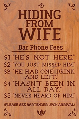 - Hiding From Wife Bar Phone Fees Funny Mural Giant Poster 36x54 inch