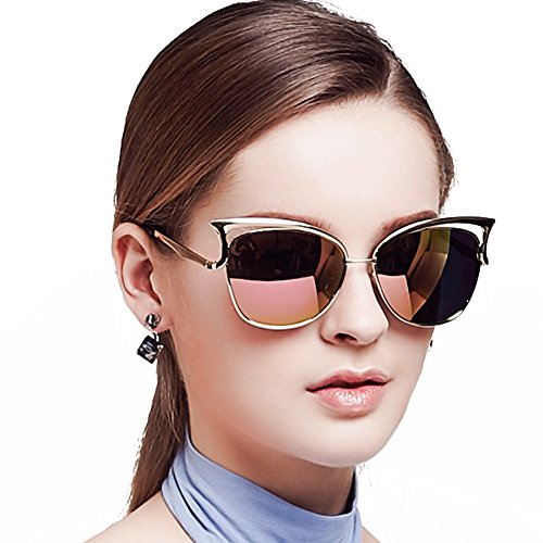 Women Sunglasses, Vintage Cateye Sunglasses for Women Polarized Mirror Designer by BLUEKIKI YEUX (Rose - Designer Sunglasses Best