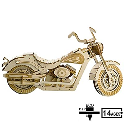 3D Wooden Puzzle, Motorcycle Wooden Toys, Assembly Model, DIY Wooden Puzzles Wood Building Construction Kit for Children Teenage Adult: Home & Kitchen