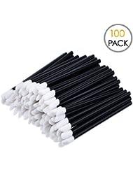 KINGMAS 100 Pack Disposable Lip Brushes Lipstick Gloss Wands Applicator Makeup Tool Kits