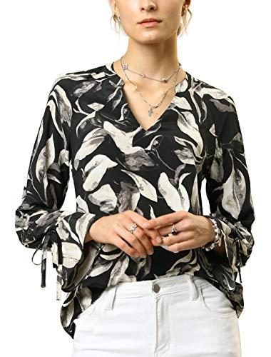 [해외]알 레그 러 K 여성의 끈 벨 긴 소매 V 넥 꽃 잎 인쇄 캐주얼 블라우스 탑 스 / Allegra K Women`s Strappy Bell Long Sleeves V Neck Floral Leaves Printed Casual Blouse Tops