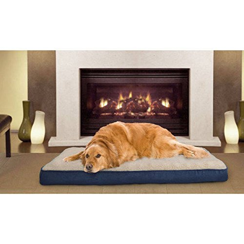 1 Piece Navy Blue Orthopedic Large 36 Inches Sherpa Deluxe Comfort Pet Bed, Dark Blue Solid Color Ortho Foam Rectangle Dog Mattress Bedding Medical-grade Zippered Removable Cover, Faux Suede ()