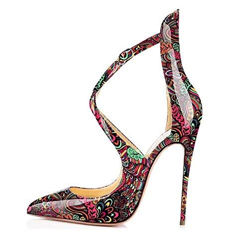 (Sammitop Women's Dress Pumps,120mm High Heel Shoes,Crisscross Strap Shoes,Evening Dress Red Shoes US12 )