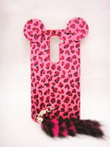 3D ear pink Leopard with tail Fur Plush cute Case Cover Shell skin for LG Optimus G2 D800 D801 D802 D803 VS980 F320