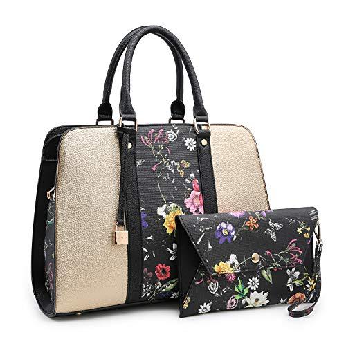 Lightweight Large Capacity Women Handbag, Medium Top Handle Satchel Multi Pockets Designer handbags Purse Tote Bags for Women (XL-E-7999-GD/BKF)