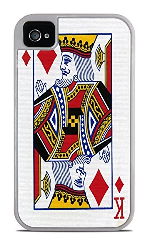 King of Diamonds Playing Card White 2-in-1 Protective Case with Silicone Insert for Apple iPhone 4 / ()