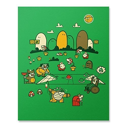 Super Mario Bros Art Print Vintage Nintendo Bowser Luigi Wario Video Game Poster Mushroom Turtle Shell Shy Guy One Up Funny Home Decor 8 x 10 Inches