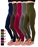 5 Pack High Waist Fleece Lined Thick Tummy-Compression Brushed Leggings by Homma (XL/XXL, Brown, Charcoal, Olive, Burgundy, Navy)