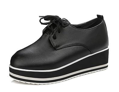 Aisun Damen Schüren Lederoptik Derby Plateau Sneaker Halbschuhe Schwarz 34 EU lTaHwOQ