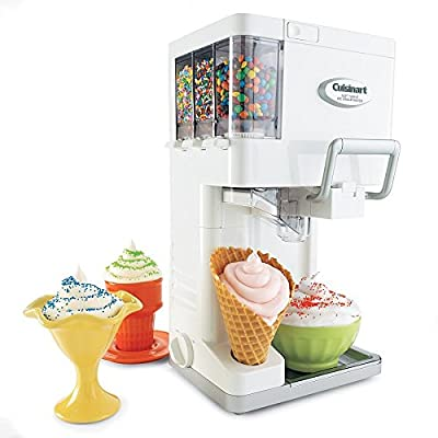 Cuisinart Soft Serve Ice Cream Maker with Fully Automatic Double Insulated Freezer Bowl and 3 Built-In Condiment Holders with Built-In Cone Holder Included