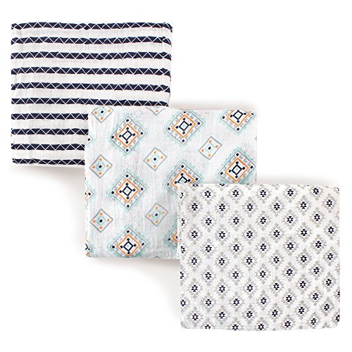 Hudson Baby Unisex Baby Muslin Swaddle Blankets, Aztec 3 Pack, One Size