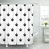 VaryHome Shower Curtain Black Canabis Marijuana Leaf Pattern Simple of for Hemp White Waterproof Polyester Fabric 72 x 72 inches Set with Hooks