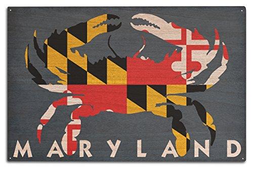 Lantern Press Maryland - Crab Flag (10x15 Wood Wall Sign, Wall Decor Ready to Hang)