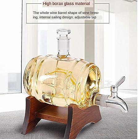 ZSQHD Decoración para el hogar Vidrio Vino Barril Botella de Vino Faucet Creativo Barril de Vino Modelo de Vino Tinto Soporte de Vino Decoración Artesanal