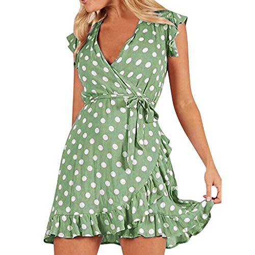 2019 New Womens Summer Soft Casual Dresses Ladies Cute Floral Dot Printed Short Sleeve Cool Feel Beach Mini Sundress QAQ (Green, XXL)