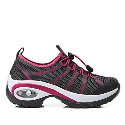 de DUORO Para Mujer de Negro Malla Walking Zapatillas Nordic S6xq6FwgIr