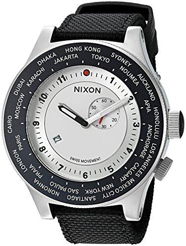 Nixon Men's 'Passport' Swiss Quartz Stainless Steel and Nylon Watch, Color:Blue (Model: A3211433)