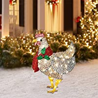 Light-Up Chicken with Scarf Holiday Decoration, LED Christmas Outdoor Decorations Metal Christmas Ornaments with Light…